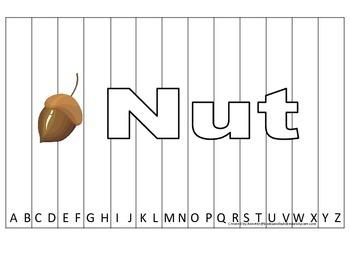 Alphabet Sequence Spelling Puzzle.  Spell Nut. Preschool l