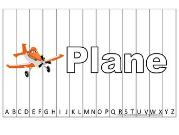 Alphabet Sequence Spelling Puzzle.  Spell Plane. Preschool