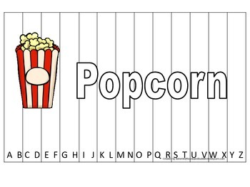 Alphabet Sequence Spelling Puzzle.  Spell Popcorn. Prescho