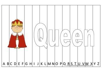Alphabet Sequence Spelling Puzzle.  Spell Queen. Preschool
