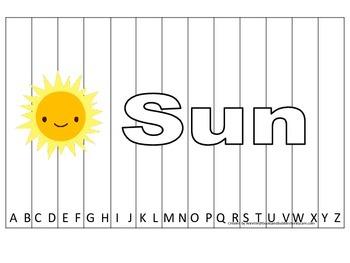 Alphabet Sequence Spelling Puzzle.  Spell Sun. Preschool l
