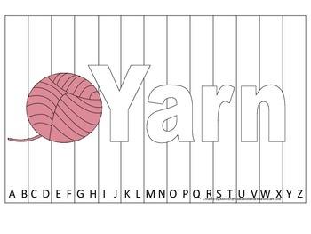 Alphabet Sequence Spelling Puzzle.  Spell Yarn. Preschool