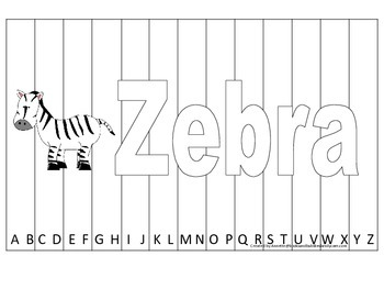 Alphabet Sequence Spelling Puzzle.  Spell Zebra. Preschool