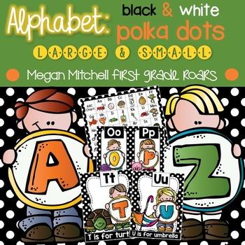 Alphabet Set: Black & White Polka Dot