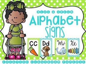 Alphabet Signs {BLUE & GREEN}