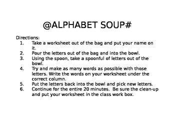 Alphabet Soup Graphic Organizer