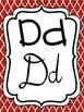 Alphabet Strip - Print and Cursive - Red Damask