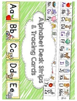 Alphabet Tracing Cards & Matching Alphabet Desk Strips