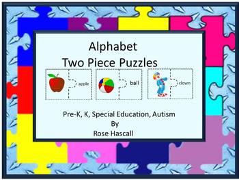 Alphabet Two Piece Printable Cut and Paste  Puzzles Litera