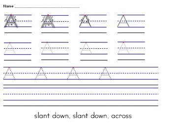 Alphabet Uppercase A-Z Handwriting Worksheets Manuscript (