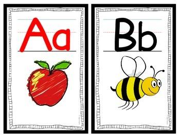Alphabet Classroom Decor Wall Cards A-Z (RF.K.3a) (Black Border)