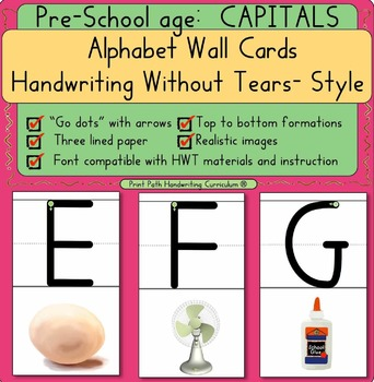 Handwriting Without Tears –style, CAPITAL Wall Cards