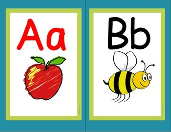 Alphabet Classroom Decor Wall Cards A-Z (RF.K.3a)  (Turquo