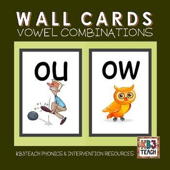 Alphabet Classroom Decor Wall Cards (Vowel Combinations &