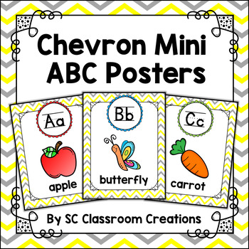 Mini Alphabet Posters (Yellow and Gray Chevron)