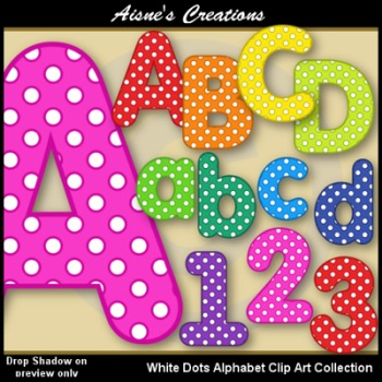 Alphabet - White Dots Clip Art Collection