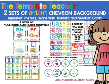 Alphabet, Word Wall Headers & Numbers Posters Set {Bright