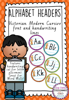 Alphabet Word Wall Toppers - Victorian Pre-Cursive