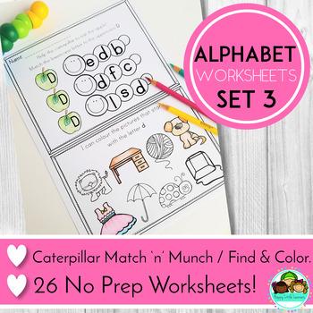 Alphabet No Prep Worksheets - Beginning Sounds and Letter Match