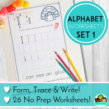 Alphabet No Prep Worksheets: Writing Practice