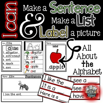 Alphabet Writing Center {Simple Sentences, Labeling, Lists