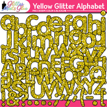 Yellow Alphabet Glitter Clip Art {Great for Classroom Deco