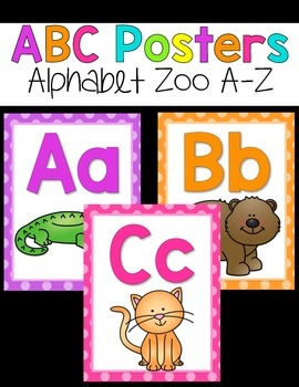 ABC Posters {Bright Polka Dots and Animals}