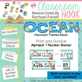 Ocean Theme: Alphabet and Number Banner