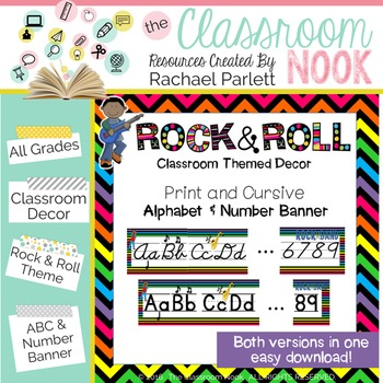 Rock and Roll Theme: Alphabet and Number Banner