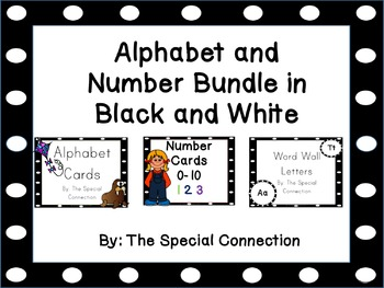 Alphabet and Number Bundle : Black and White