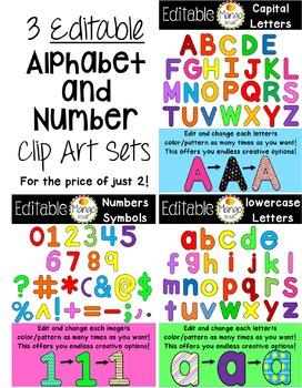 Alphabet and Number Clip Art Bundle