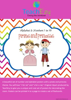 Alphabet and Number Posters/flash cards - Pirates and Princesses