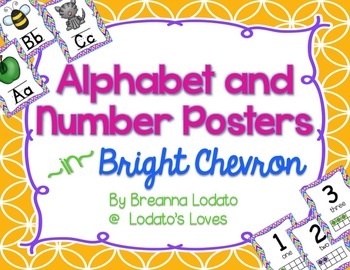 Alphabet and Number Posters- Bright Chevron Theme