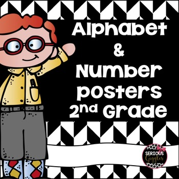 Alphabet and Number Posters Rainbow Design 2nd Grade