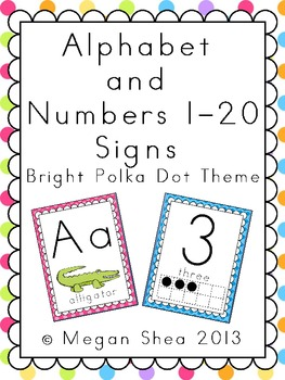 Alphabet and Numbers 1-20 Classroom Signs: Bright Polka Do