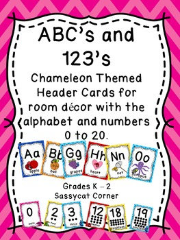 Alphabet and Numbers 1 - 20 posters with Chameleon and Che