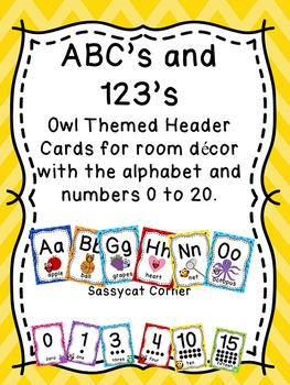Alphabet and Numbers 1 - 20 posters w/ Owl & Chevron Theme