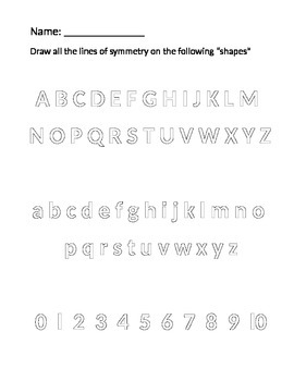 Alphabet and Numbers Symmetry