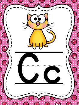 Glitter Polkadots Alphabet Posters