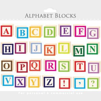 Alphabet clipart - letter blocks clip art, wooden blocks,