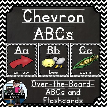 Alphabet Picture Cards & Flashcards {Chevron Black/White}