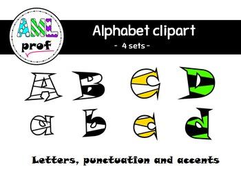 Alphabet letters clipart : stripes