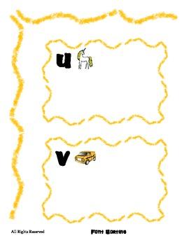 Alphabet sorting by Font for letters U V W X - File Folder