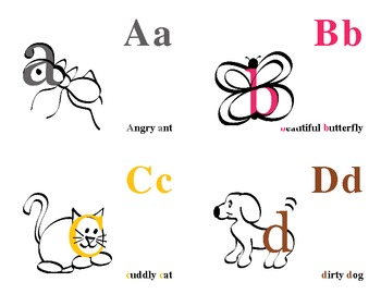 Alphabetic flash cards for early childhood