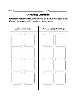 Alphabetical Order #1: Cut, Sort, & Paste Activity