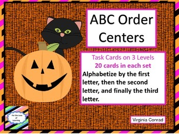 Alphabetical Order--3 Levels--Halloween Theme