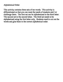 Alphabetical Order- 3 levels