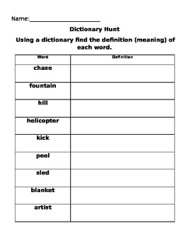 Alphabetical Order & Dictionary Hunts