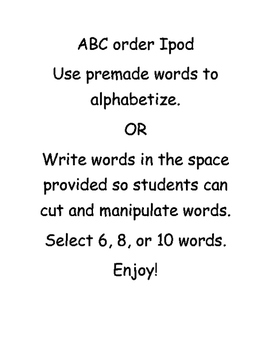 Alphabetical Order Ipod