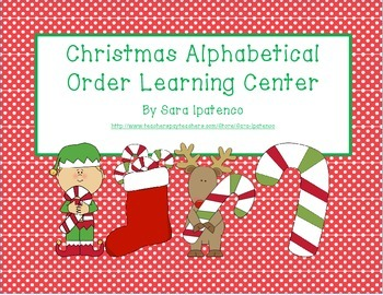Alphabetical Order Literacy Center: Christmas Theme